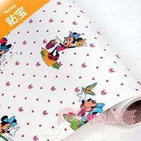 Free Shipping Pvc waterproof wallpaper meters duck mickey mouse cartoon kids wallpaper 45cm width10 meters long