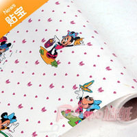 Free Shipping Pvc waterproof wallpaper meters duck mickey mouse cartoon kids wallpaper 45cm width10 meters long