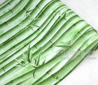 Free Shipping  pvc waterproof green turbolinux bamboo wallpaper 10 meters long per roll