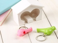 New Supper Cute Couple Sparrow Key Ring With Whistle/ Have Big Bird's Nest Hang on The Wall / 2 Birds Per Set
