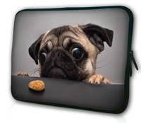 "15"" Cute Pug Soft Laptop Notebook Soft Sleeve Bag Case Cover Pouch For 15.6"" laptop"