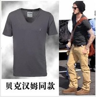 Personalized heart-shaped collar t-shirt male solid color V-neck short-sleeve men's clothing plus size summer vintage fashion