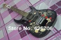 Black flower 7v KJEM77FP2  floyd wammy bar black electric guitar Music instrument free shipping