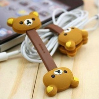 Free shipping Rilakkuma Bear Shape Button Cable Winder/ cable holder/ cable organizer/ headphone cable winder