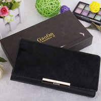 Free shipping 2014 new solid color women genuine leather wallet fashion