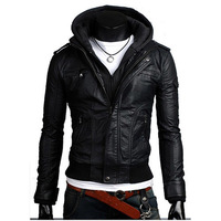Free Shipping 2014 Men Slim Coat Detachable Hooded Skinny Black Faux Leather Jacket,Motorcycle Hoodie Zipper Outwear c110