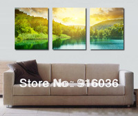 Free shipping 3 Piece Combination Forest Picture on The Wall Print Decor Canvas Beautiful Scenery Living Room Art  Painting p769