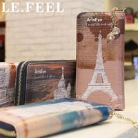 Lefeel 2013 wallet cowhide rhinestone zipper wallet women's wallet long wallet