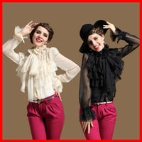 (S,M,L,XL) Fashion Luxury Royal Stand Collar Puff Long Sleeve Rose Collar Faux Silk Top, Designer Ruffle Layers Shirt