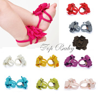 Free shipping 12pair/lot Baby sandals barefoot sandals red baby shoes flower