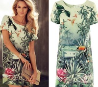 2014 new Fashion Ladies' elegant birds flower plant print Dresses Oriental short sleeve Vintage dress cascul slim Mini dresses