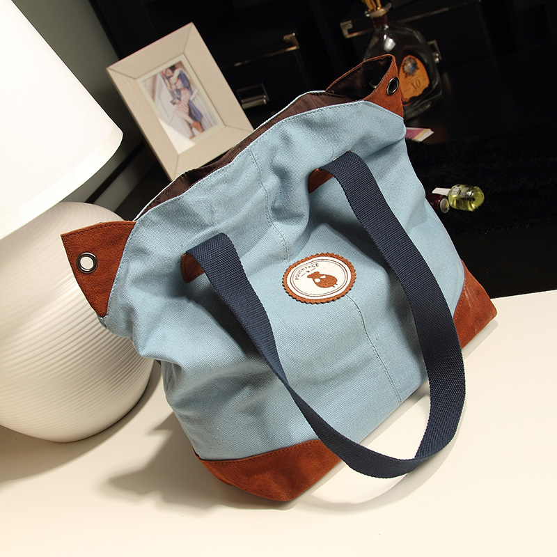 FreeShipping 2013 casual big bag hand bag hit the color canvas bag handbag 045(China (Mainland))