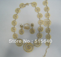 Free shipping Fashion jewelry sets romantic gold plated wedding party dress necklaces earring costume mix color