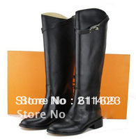 Wholesale & Free Shipping Black Genuine Leather Women Fashion Knee Boots,Buckle Brand Winter Boots