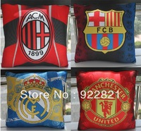 New arrival!Free shipping football fan square cushion pillow/suqare bolster pillow with big european clubs' team logo, souvenirs