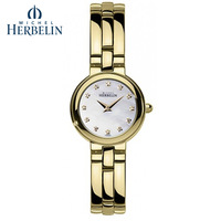 Arbitraging herbelin stainless steel gold plated vintage ladies watch women's quartz watch 17412 bp59