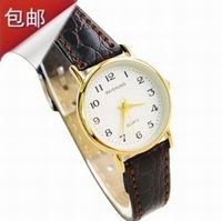 Gold plated table box leather watchband brief fashion dial Women watch ladies watch