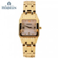 Commercial herbelin lady steel strip gold plated watch ladies watch 12847 bp