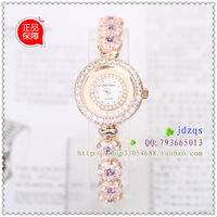 Fashion gold plated gentle women's watch full rhinestone fashion table trend crystal table