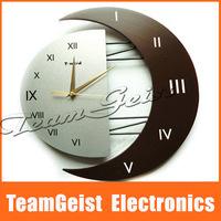 2014 NEW EURO style wall Clock Fashion Creative Ultra-Mute WALL quartz Wooden clock Home Livingroom decoration Free Shipping