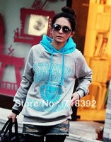 T times. Winter new arrival 50 color print decorative hooded fleece sweater WD0066, free shipping