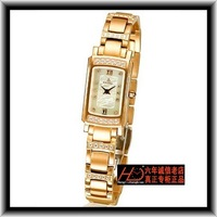 Watch el82.11 . 68ga square quartz ladies watch gold plated diamond