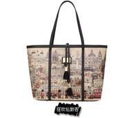 2013 spring and summer women's handbag fashion cartoon print shopping bag shoulder bag