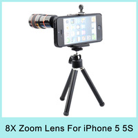 New Arrival 8X Optical Zoom Telescope Telephoto Lens Aluminum Camera for Apple iPhone5 Drop Shipping