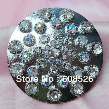 AB color stone metal alloy brooch with pins, 48mm round special jewelry brooches, item no.: BH7393