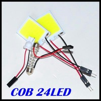 4W COB Chip 24led LED Car Interior Light T10 Festoon Dome BA9S Adapter 12V,Wholesale Car Vehicle LED Panel Free shipping