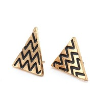 9pairs Cute Vintage Loverly Alloy Triangle Waves Golden Stud Earings Jewellry 61904-61906