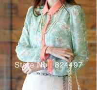 Free Shipping Fashion Lady Green Chiffon Long Sleeve Women Floral Casual Dress S/M/L/XL C1366