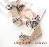 2012 bohemia bow banding bandage straw braid platform wedges sandals  free  shipping