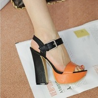 Sweet 2012 brief open toe high-heeled shoes platform thick heel sandals  free shipping