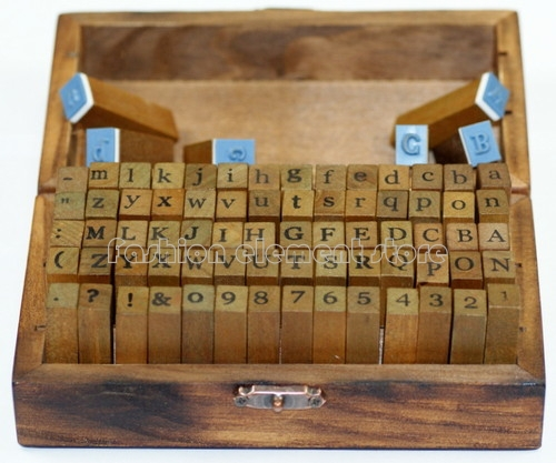 70pc Set of Alphabet Rubber Stamps Wooden Box Vintage Style Wood Letters Number Craft Decorative DIY Funny Work(China (Mainland))