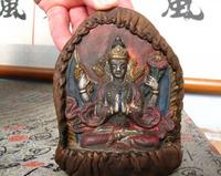 shipping free  Tibetan chinaware painted Four Armed Guan Yin Buddha  Retro