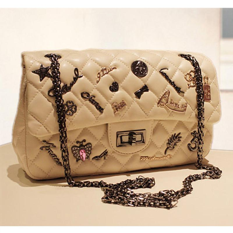 2013 high quality small metal badge replica dimond women's plaid fashion handbag chain bag shoulder bag(China (Mainland))