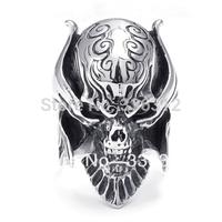 R221859 Mens Biker Siver Tone Vintage Stainless Steel Gothic Skull Ring  U.S. Size  8 9 10 11 12 13 14 15
