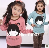 free shipping Hot-selling female child round neck cartoon girl fashion long-sleeve top T-shirt 3-10 years old grenn/pink colors