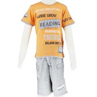 Summer 2014 children set boy short sleeve t-shirts orange printed and pants sport shorts size 6-14 2482K1 Free Shipping