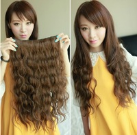 "HOT,"" Light Brown#2t30, Silky curly Remy Clip in blended human hair extensions ,straight 5 clips in hairpieces ,free shipping"