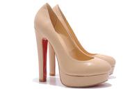 beige sheep skin wood grain highheel shoes