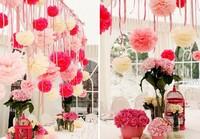 15Pcs/Lot 15cm/6inch Tissue Paper Pom Poms Party Wedding Shower Flower Balls Decoration 27 Colors for wedding/party