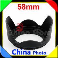 Wolasale 50pcs  Flower Lens Hood 58mm For Canon EOS 350D 400D 450D 1000D NIKON SONY MINOLTA +free tracking number