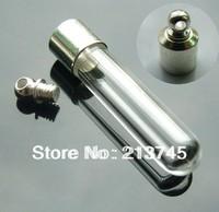 Free ship 100pcs/lot M15 name on rice art glass vial pendant mini glass bottle pendant wish bottle necklace pendant