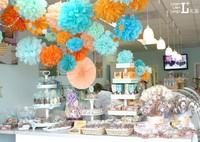 80Pcs/Lot 15cm/6inch Tissue Paper Pom Poms Party Wedding Shower Flower Balls Decoration 27 Colors for wedding/party