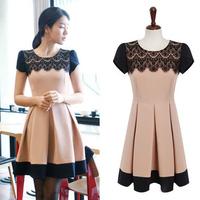 Женское платье M L XL Career Dresses New Fashion 2013 Winter Korean Style Slim Fit Long Sleeve Dress Chiffon Ruffle Knitted Women Clothes