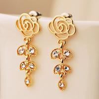 Big Promotion 11.11 Min order 10usd, New Korean Design Super Beautiful Roses Leaf Foliage Long Earring.Statement Earring 2013