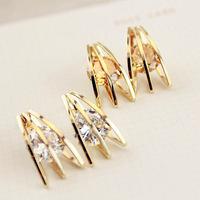 Big Promotion 11.11   Fashion 2013 Female Korean Gold Plated Stripes Zircon Stud Earring.Bridal Earring