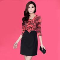 One-piece dress plus size mulberry silk V-neck pencil  patchwork block color slim hip